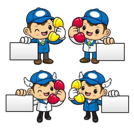 phonecall: Delivery Man Character is call and holding a business cards.