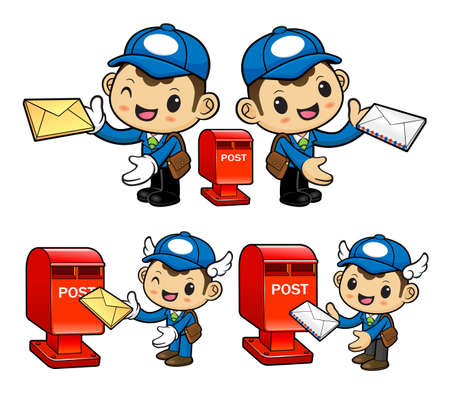 circulation of documents: Postman Character and Postbox Illustration