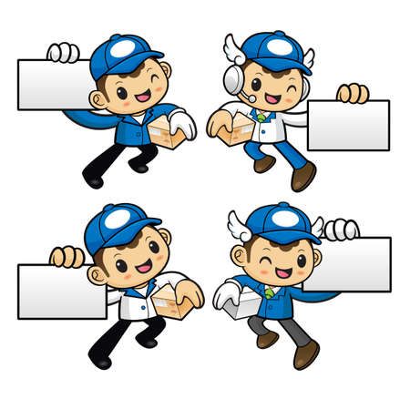 courier: Delivery Man Character is Kindly courier holding the box.