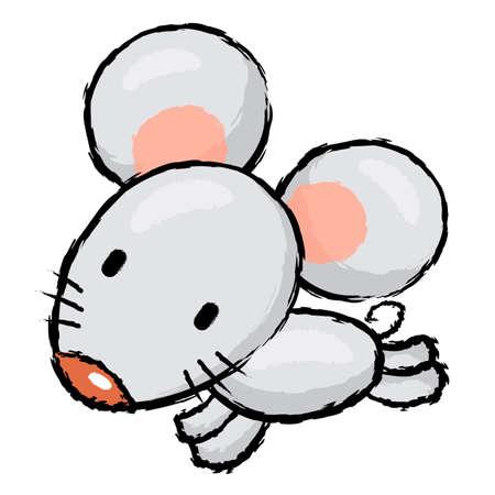 endeavor: Rat Character is running.  Asian Zodiac Character Design Series. Illustration