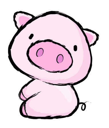porker: Unique Line Art style Pig Character.  Asian Zodiac Character Design Series.