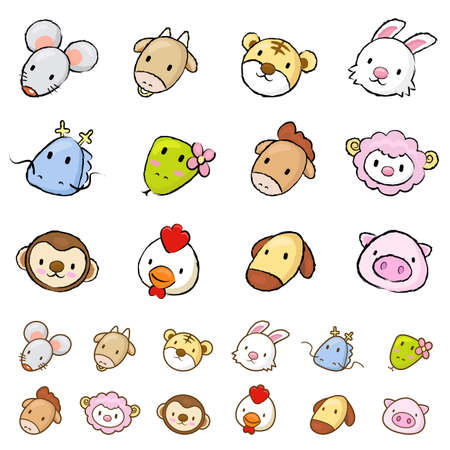 porker: Unique Line Art style of a Asian Zodiac Character Face icon Sets.