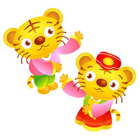 hanbok: Korean Traditional Tiger Character. Asian Zodiac Character Design Series. Illustration