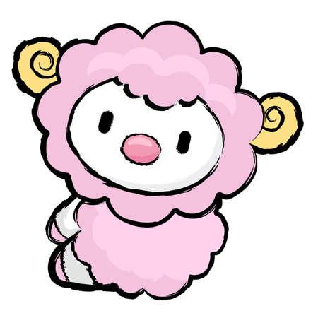 korea food: Unique Line Art style Sheep Character.  Asian Zodiac Character Design Series.