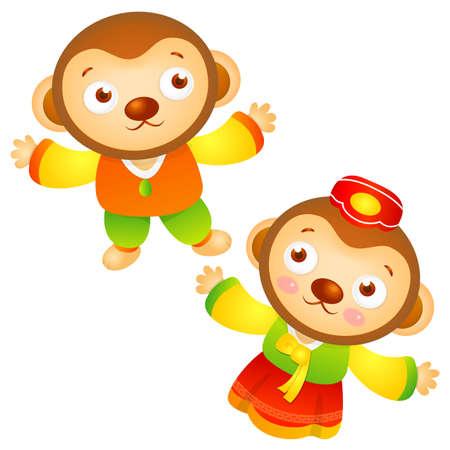 hanbok: Korean Traditional Monkey Character. Asian Zodiac Character Design Series.