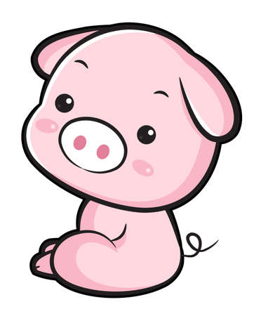 korea food: The Side sit down Pig Character.  Asian Zodiac Character Design Series.