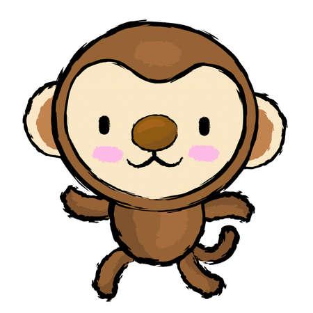 endeavor: Monkey Character is running.  Asian Zodiac Character Design Series. Illustration