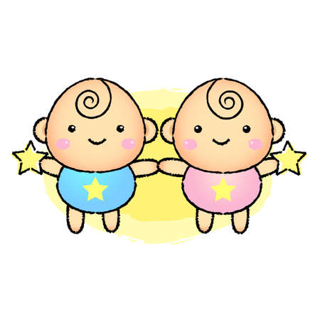 newyear: Vector Cartoon Twins Character. Gemini Constellation Character Design Series.