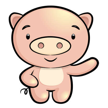 porker: Pig Character. Asian Zodiac Character Design Series. Illustration