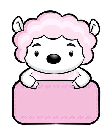 korea food: Sheep Character is holding a board of both hands.  Asian Zodiac Character Design Series. Illustration