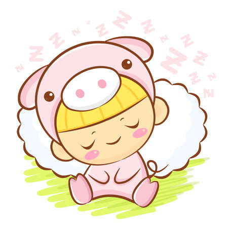 porker: Pig Character is sleeping.  Asian Zodiac Character Design Series.