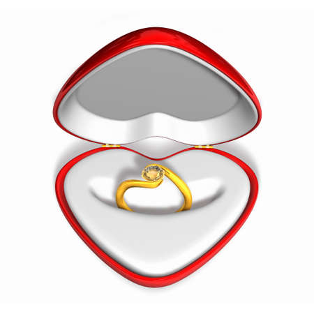 annual ring annual ring: 3d wedding gold diamond riog in red heart case. Valentine 3D Illustration Design Series.