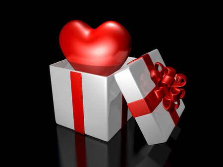 装飾が施された白いギフト バックスで飛び出る 3 d キュートなハート。バレンタイン 3 D イラストレーション デザイン シリーズ。