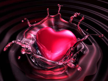 3d red laminated heart sinking into dark water. Valentine 3D Illustration Design Series. Stock Photo
