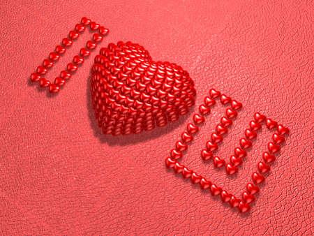 3d red jewel lettering lying on red cowhide background. Valentine 3D Illustration Design Series.