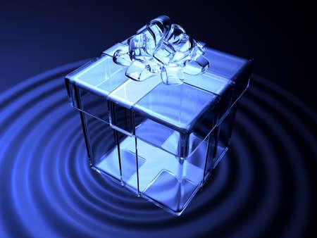 3d blue crystal present box on waving water. Valentine 3D Illustration Design Series. Stock Photo