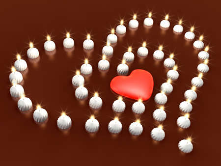 3d heart in centre and bright candle ranged as heart. Valentine 3D Illustration Design Series. Stock Photo