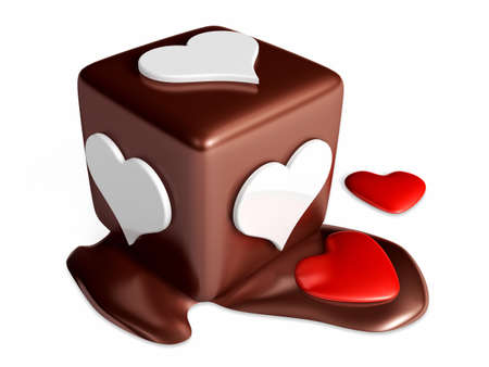3d chocolate cube hexahedron dice melting on white background. Valentine 3D Illustration Design Series.