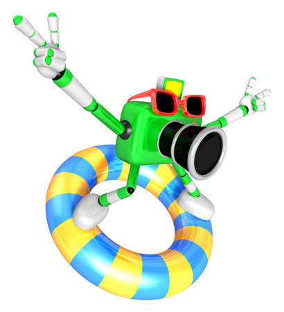 3d green Camera character surfing on lifebuoy. Create 3D Camera Robot Series.