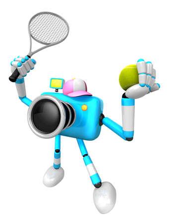 Cyaan camerakarakter is een krachtige tennisgame-speloefening. Creëer 3D Camera Robot Series.