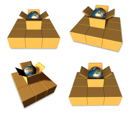 3D The globe icon in the boxes. 3D Icon Design Series. Stock Photo