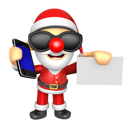 3D Santa Mascot hand is holding a Smart Phone and business cards. 3D Christmas Character Design Series.