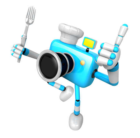 Chef Sky blue Camera Character left hand fork. The best gesture of the right hand is taking. Create 3D Camera Robot Series. Stock Photo