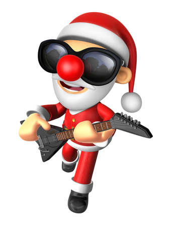 3D Santa has to be playing the electric guitar. 3D Christmas Character Design Series. Stock Photo