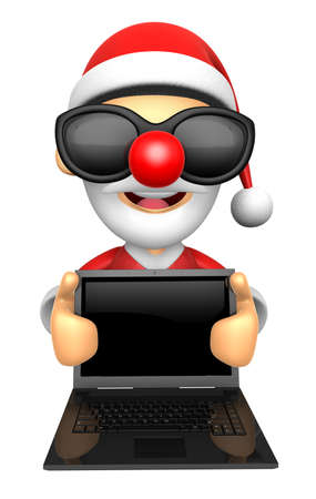 Wear sunglasses 3D Santa Mascot holding a big board with both Laptop. 3D Christmas Character Design Series.