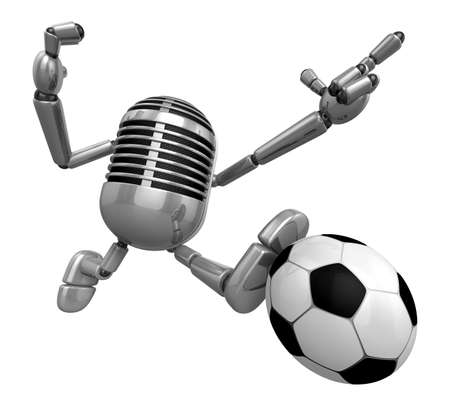 3D Classic Microphone kicking a powerful shot. 3D Classic Microphone Robot Character Series. Stock Photo