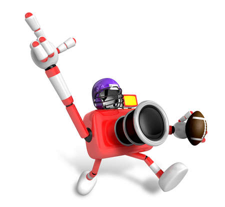 American football playing red camera Character. Create 3D Camera Robot Series.