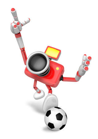 Strong 3d Camera character kicking a soccer ball. Create 3D Camera Robot Series.