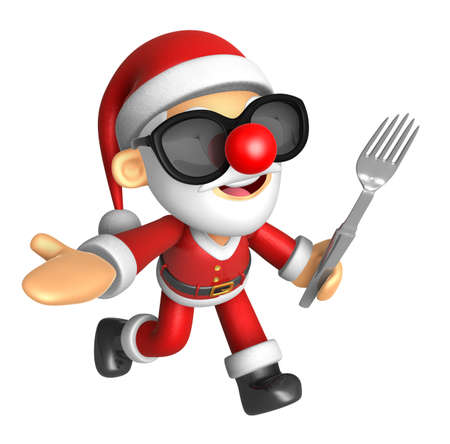 Wear sunglasses 3D Santa Mascot the left hand guides and right hand is holding a fork. 3D Christmas Character Design Series. Stock Photo
