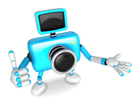 The Cyan Camera Character Taking the right hand is the best gesture. Instructed to gesture with the left hand is taking.  Create 3D Camera Robot Series.