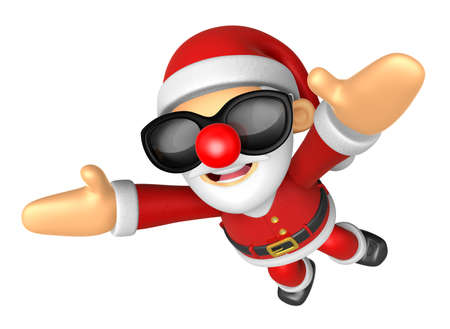 3D Santa Mascot flying to the sky. 3D Christmas Character Design Series.