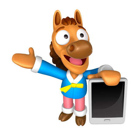 3D Horse mascot the left hand guides and the right hand is holding a tablet PC. 3D Animal Character Design Series.