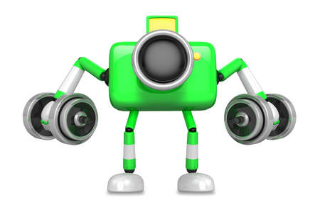3D Green Camera character a Dumbbell Kick Back Exercise. Create 3D Camera Robot Series.