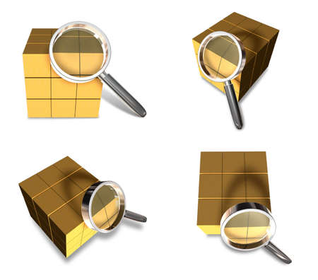 3D Delivery box with the magnifying glass icon. 3D Icon Design Series.