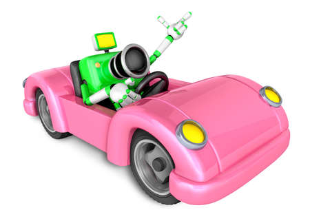 Driving a Pink Convertible car in green camera Character. Create 3D Camera Robot Series. Stock Photo