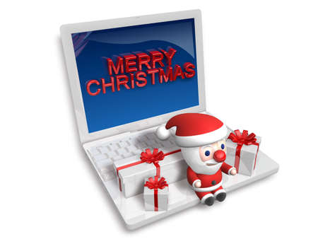 sitting santa on the laptop,3d Stock Photo