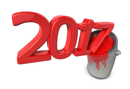 paintcan: 2017 Comes out of the paint canister. New Year Typographic Arts Card. Stock Photo