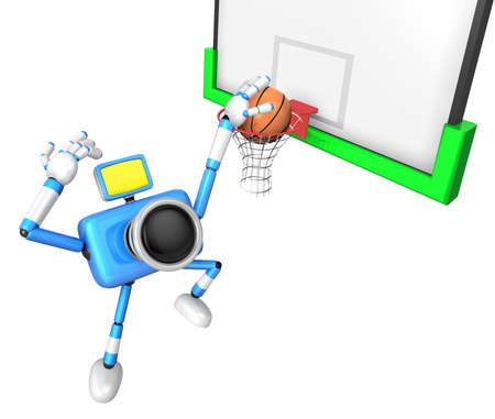 fidelidad: 3D Blue camera basketball player Vigorously jumping. Create 3D Camera Robot Series. Foto de archivo