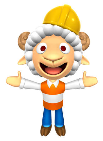 fidelidad: 3D Construction site Sheep Mascot has been welcomed with both hands. 3D Animal Character Design Series.
