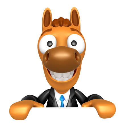 quartet: 3D Horse Mascot holding a big board with both hands. 3D Animal Character Design Series. Stock Photo