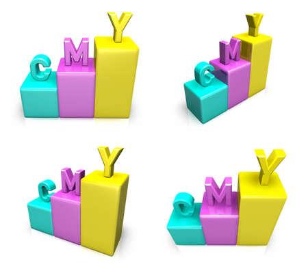 3D CMY graph icon. 3D Icon Design Series. Stock Photo