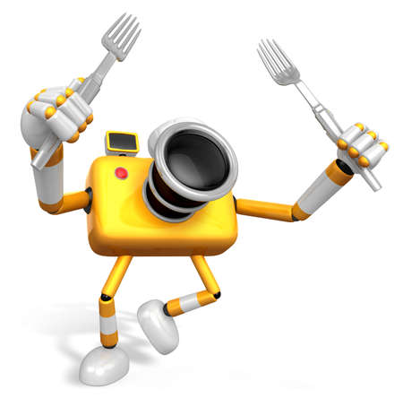 Yellow Camera Character Cook camera in both hands to hold a fork. Go on foot walking. Create 3D Camera Robot Serie.
