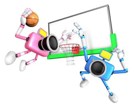 Pink camera and Blue camera basketball playing. Create 3D Camera Robot Series.