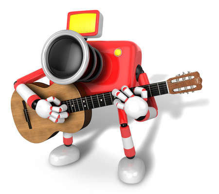 To the left toward the Red Camera Character playing the guitar. Create 3D Camera Robot Series. Stock Photo