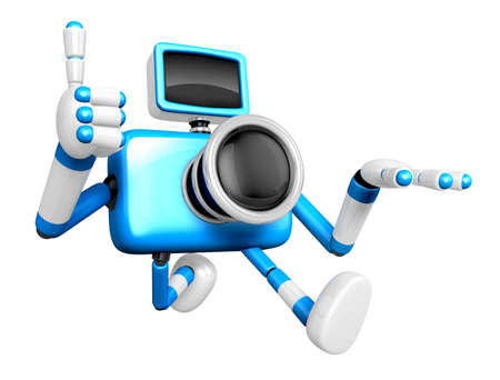 Rushing toward the left side of the Blue Camera Character. Create 3D Camera Robot Serie.