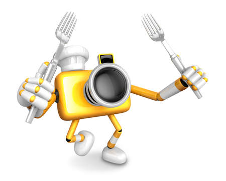 Yellow Camera Character Cook camera in both hands to hold a fork. Go on foot walking. Create 3D Camera Robot Series. Stock Photo